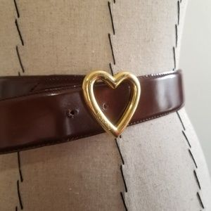 Vintage Brown Moschino Heart Buckle Belt